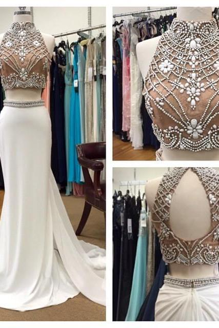 2017 Two Pieces Prom Dress,Handmade Beading Prom Gown,Mermaid Long Prom Dress,Formal Evening Gown