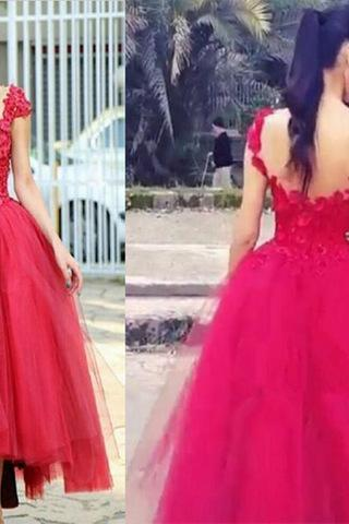 Red 2017 Cap Sleeve Lace Prom Dress Custom Made Tulle Red Formal Evening Gown
