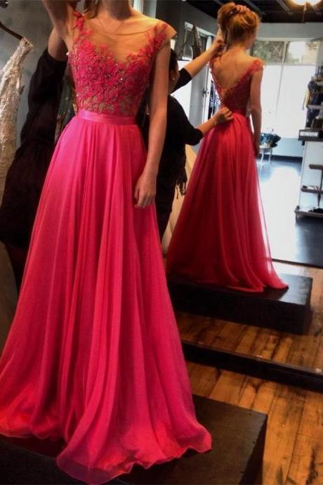 2017 Sexy V-Back Appliqued Chffion A-Line Long Prom Dress Custom Made Rose Pink Evening Gowns