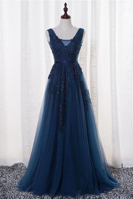 Sexy V-Neck Navy Blue Appliques Beading tulle Evening Gown ,Custom Made A-Line Long Prom Dress