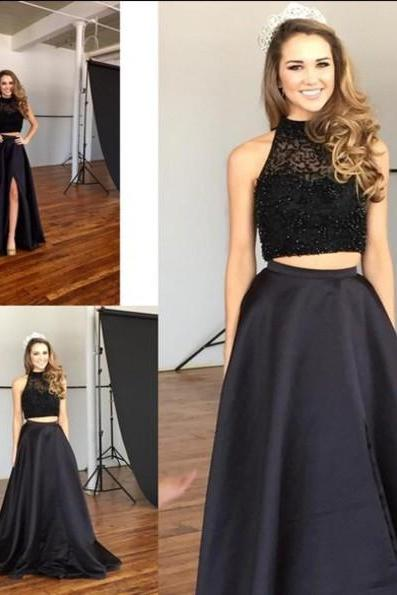 Sexy Black Two Pieces Prom Dress Custom Made Satin Sweep Train Women Evening Gowns 2017