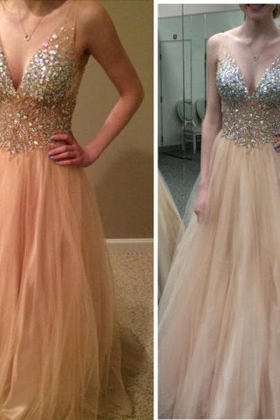 Sexy V-Neck Long Prom Dress Custom Made Champagne A-Line Beading Tulle Evening Dresses 2017