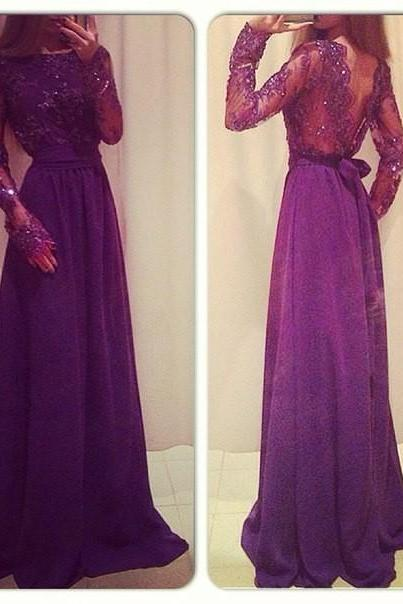 Sexy V-Back Purple Long Sleeves Long Evening Gowns Custom Made A-Line Prom Dress 2017