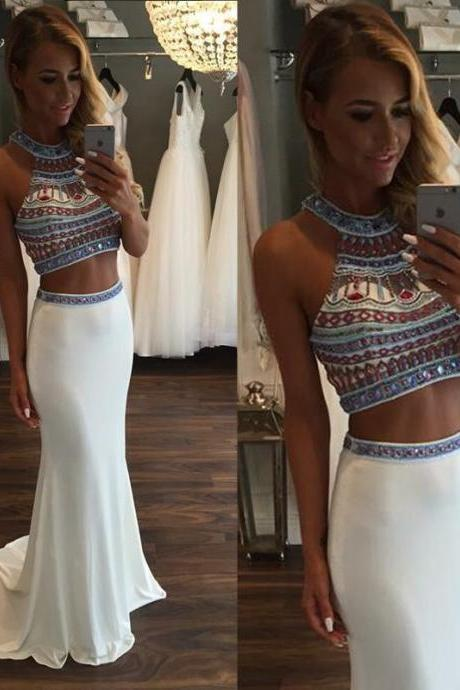 Hot Sale Sexy Two Pieces Long Evening Gowns Custom Made Beading Satin Mermaid Prom Dresses 2017