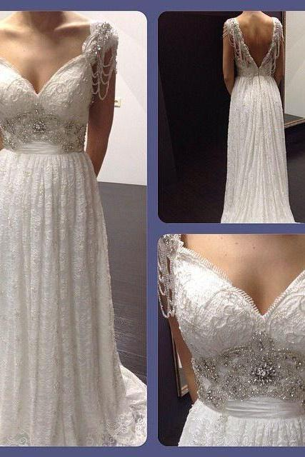 2017 White/Ivory Beading Lace Bridal Gowns Custom Made A-Line Lace Wedding Dresses