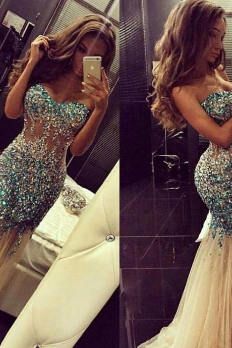 2017 Luxury New Sweetheart Prom Dresses Custom Made Beading Tulle Mermaid Evening Dresses