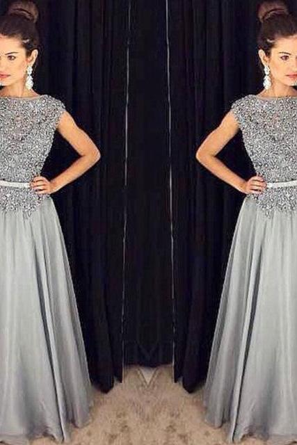 2017 Beading And Appliqued grey Chiffon prom dress,long gray prom dress,sexy grey evening dress,formal women dress,grey a-line prom dress
