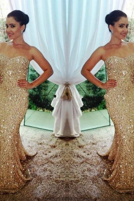 2016 New Gold Sexy Prom Dress,Mermaid Long Prom Dress,Handmade Gold Formal Women Evening Dress,Formal Dress Gold,Gold Prom Dress/Women Dress
