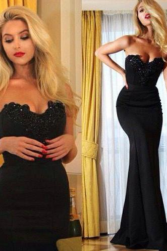 2017 Sexy Black Long Prom Dress Custom Made Satin Mermaid Evening Gowns Formal Women Dresses