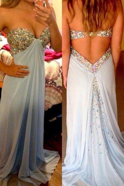 2107 New Arrival Sweetheart Long Prom Dress,Beading Chiffon Sweetheart Evening Gowns,A-Line Prom Dresses