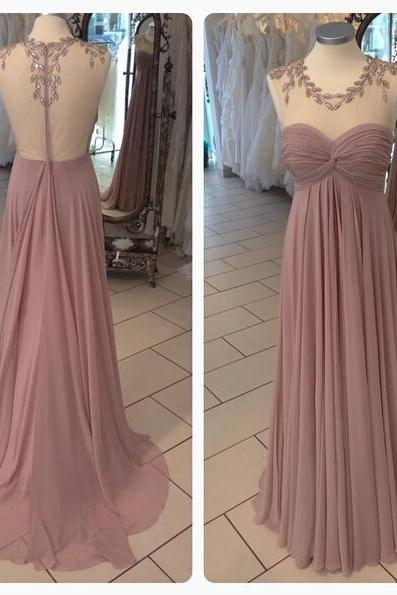 Simple Chiffon A-Line Long Prom Dresses,Handmade Illusion Evening Gowns,Formal Women Dress 2017