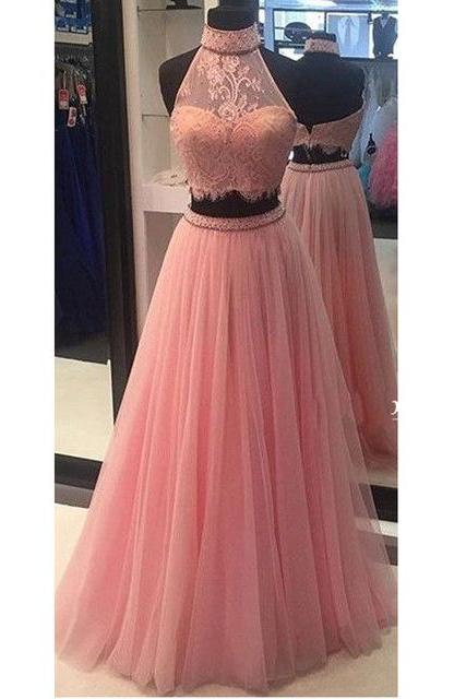 High Quality High Neck Pink Two Pieces Long Prom Dresses Custom Made Lace Tulle Evening Gowns 2017