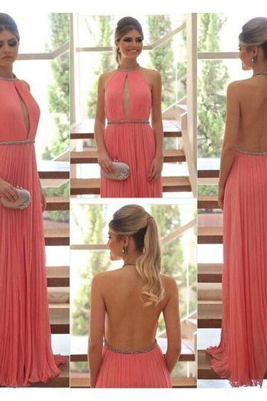 Sexy Open Back Long Prom Dresses Custom Made Chiffon Pleat Chiffon A-Line Evening Gowns 2017