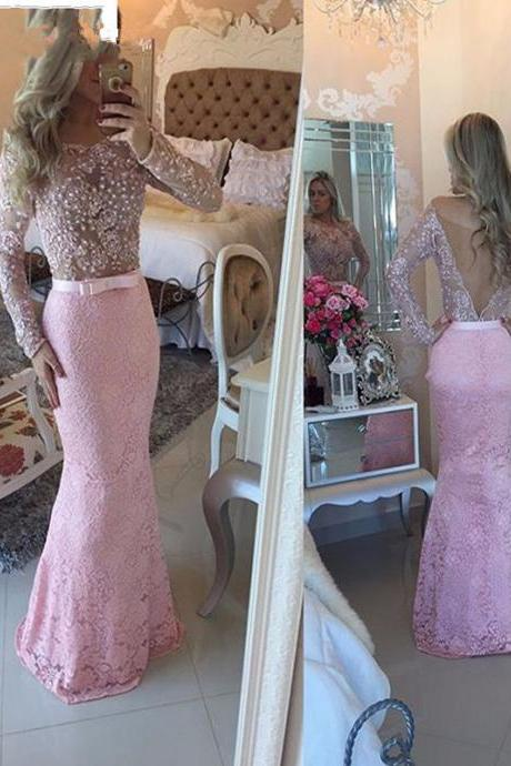 Sexy V-Back Long Lace Evening Dresses Custom Made Formal Women Gowns Mermaid Long Prom Dresses 2017