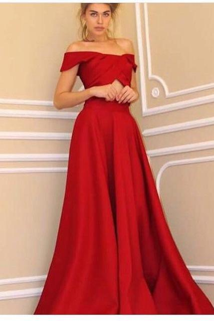 2017 Red Custom Made Satin A-Line Off The Shoulder Formal Women Evening Dresses Long Prom Dress