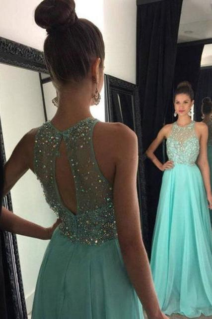 2017 New Mint Green Beading Chiffon A-Line Formal Women Gowns Custom Made Long Prom Dresses