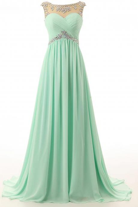 2017 Fashion Mint Green Prom Dresses,Sexy Beading Chiffon Evening Dresses,New Women Mint Dresses