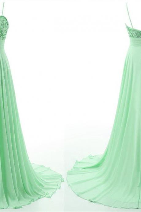 Mint Green Prom Dresses,Sexy A-Line Long Prom Gowns,Custom Made Beading Chiffon Evening Dresses,2017 Dresses