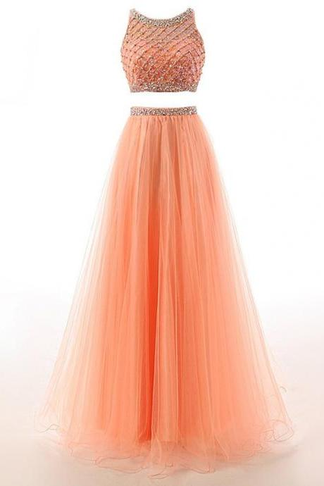 2017 High Quality Two Pieces Long Prom Dresses,Custom Made Beading Tulle Evening Dresses,Beautiful Formal Women Dress