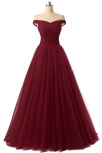 Cheap Red Formal Dresses,Sexy 2017 Off The Shoulder Formal Women Dress,A-Line Prom Dresses
