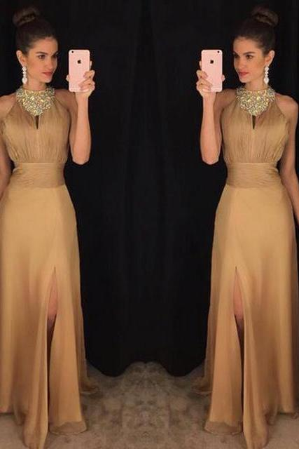 2017 High Neck Gold Prom Dresses,Sexy Slit Mermaid Prom Dress,New Women Formal Dresses
