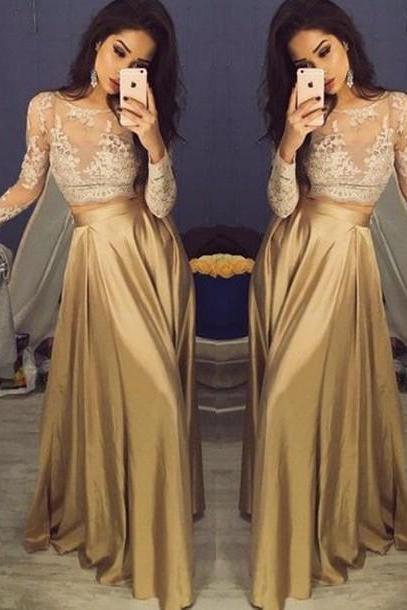 Sexy Long Sleeves Formal Dresses,Custom Two Pieces Champagne Prom Dresses 2017