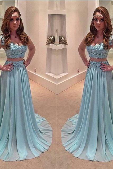 2017 High Quality Formal Dresses,Sexy Two Pieces Prom Dresses,Appliqued Chiffon Women Gowns