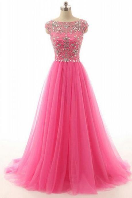 2017 High Quality Formal Dresses,Handmade Beading Tulle Long Prom Dresses,Charming Pink A-line Evening Gowns