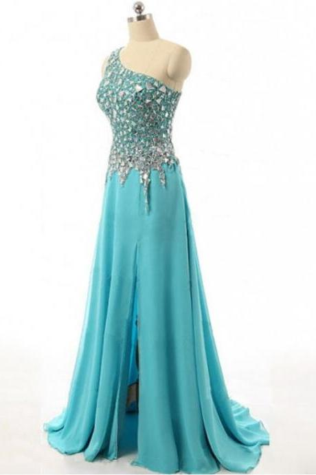 Luxury Beading/Crystal Chiffon Long Prom Dresses,Handmade One Shoulder Evening Dresses,Sexy A-line Slit Prom Dresses 2017