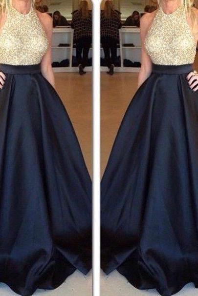 2017 High Quality Long Prom Dresses,Black Women Formal Dresses,Beading Satin Women Gowns