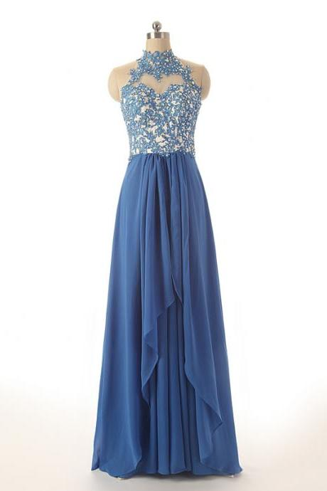 Long Chiffon A-Line Pleated Prom Dress Featuring Lace Appliqués High Neck Halter Bodice