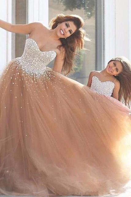 2017 Sweetheart Long Prom Dresses,Champagne Prom Dresses,Sexy Tulle Formal Dresses