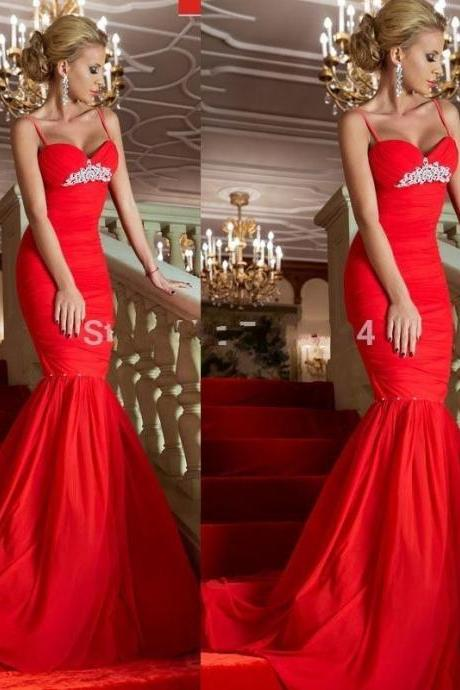 Sexy Red Dresses,Red Spaghetti Straps Long Prom Dresses,2017 Women Formal Dresses