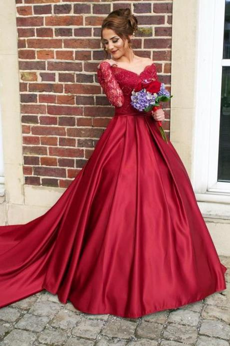 Burgundy Prom Dresses 2017,Long Sleeves A-Line Long Prom Dress,Appliqued Satin Formal Women Dresses