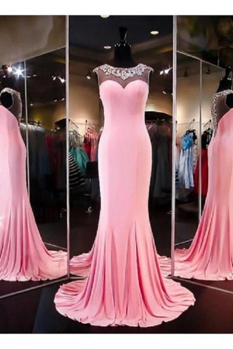 Beading Mermaid Long Prom Dresses 2017 Vintage Satin Sheer Formal Evening Dress For Women