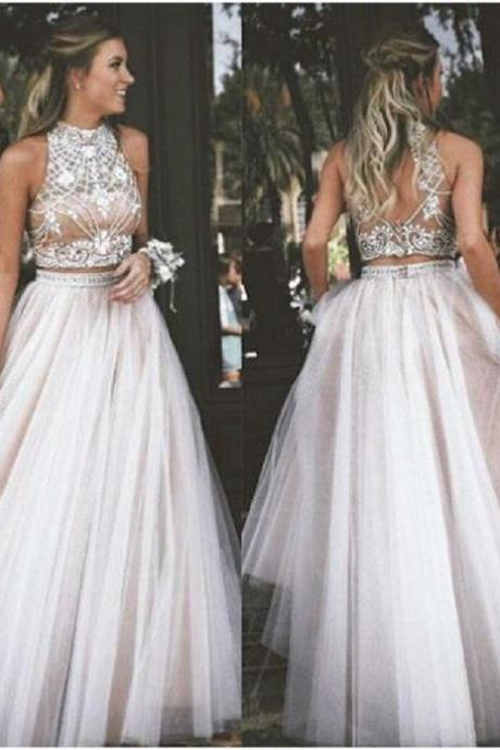 Champagne Two Piece Prom Dresses,Beading Tulle A-Line Prom Gowns,Formal Women Evening Dress