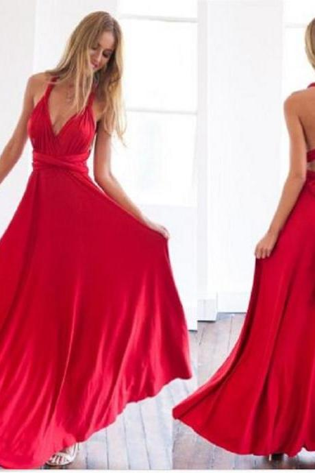 Red V-neck Chiffon Long Prom Dress Custom Made A-line Evening/Party Gowns 2017