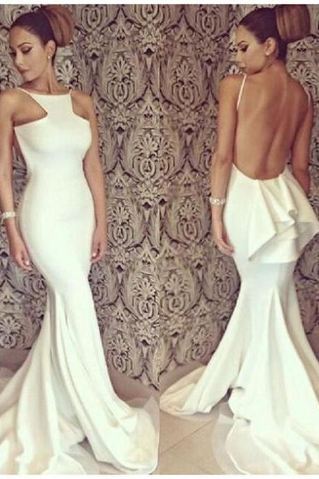 2017 Sexy Backless White Satin Long Prom Dress Mermaid Spaghetti Straps Evening/Party Dress