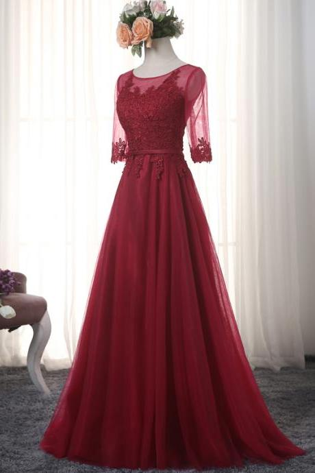 2017 Modest Burgundy Prom Dresses Long Sleeve Imported Party Dress Sheer Tulle Evening Gowns