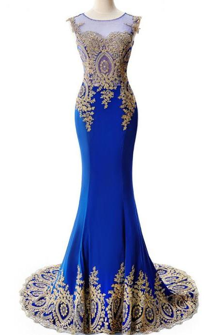 Royal Blue Mermaid Prom Dresses Long 2017 Appliqued Illusion Party Dress Evening Gowns 2017