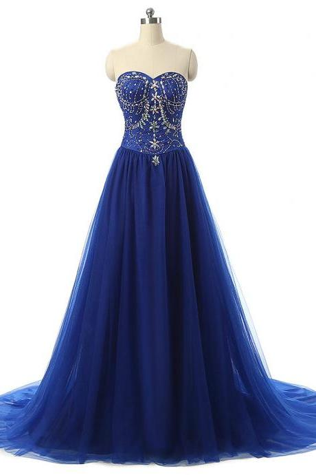 Blue Sweetheart Prom Dresses Beaded Chiffon A-Line Imported Party Dress 2017