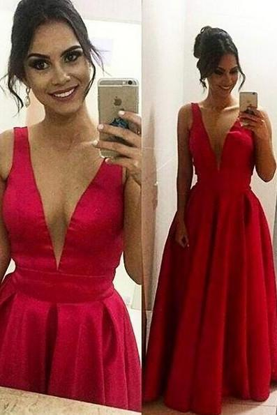 Modest V-Neck Prom Dresses 2017 Satin A-Line Formal Evening Gowns For Women Long Party Dress