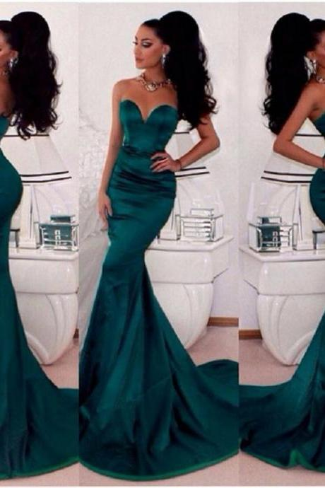 Simple Green Mermaid Satin Long Prom Dress Custom Made Sweetheart Evening/Party Gowns 2017