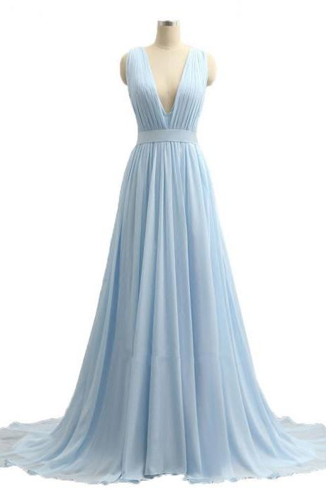 Sky Blue V-Neck Prom Dresses 2017 Long Imported Party Dress A-Line Chiffon Formal Evening Gowns For Women