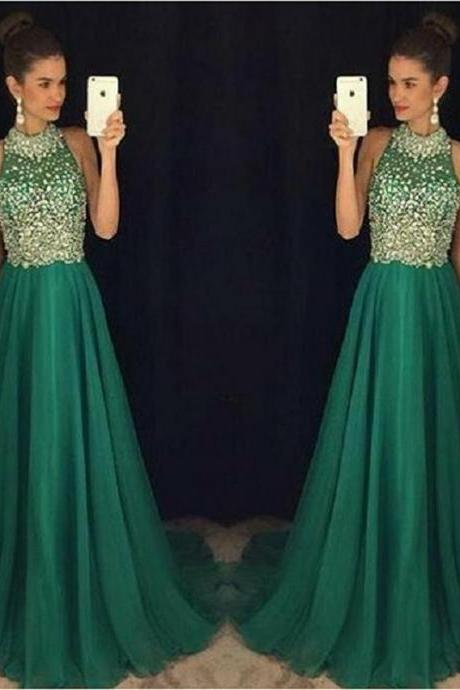 Pretty Beading Chiffon Long Prom Dress Custom Made Evening/Party Gowns 2017