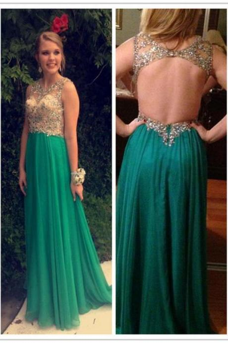 Sexy Backless Chiffon Floor-length Prom Dress Custom Made A-line Beading Evening Gowns 2017