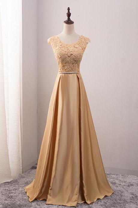 Gold Scoop Neck Prom Dresses Long 2017 Formal Evening Dress Party Pageant Gowns