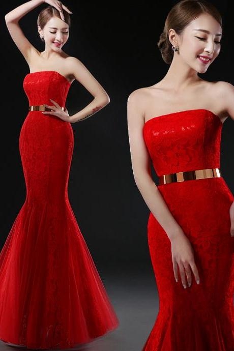 Red Strapless Lace Mermaid Prom Dresses 2017 Long Imported Party Dress Formal Evening Gowns