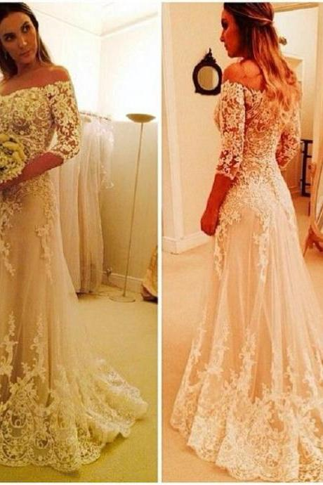 Vintage Lace A-Line Wedding Dresses With Sleeves 2017 Handmade Bridal Gowns Shop Online China