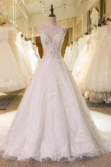 Real Photos Vintage Lace Wedding Dresses 2017 V-Neck A-Line Imported China Bridal Gowns